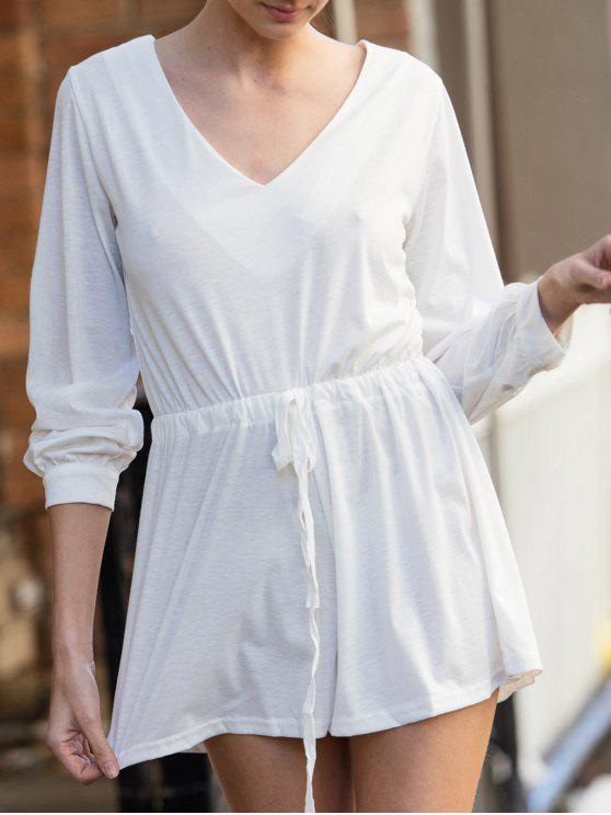 chic Long Sleeve Drawstring Design White Romper - WHITE S