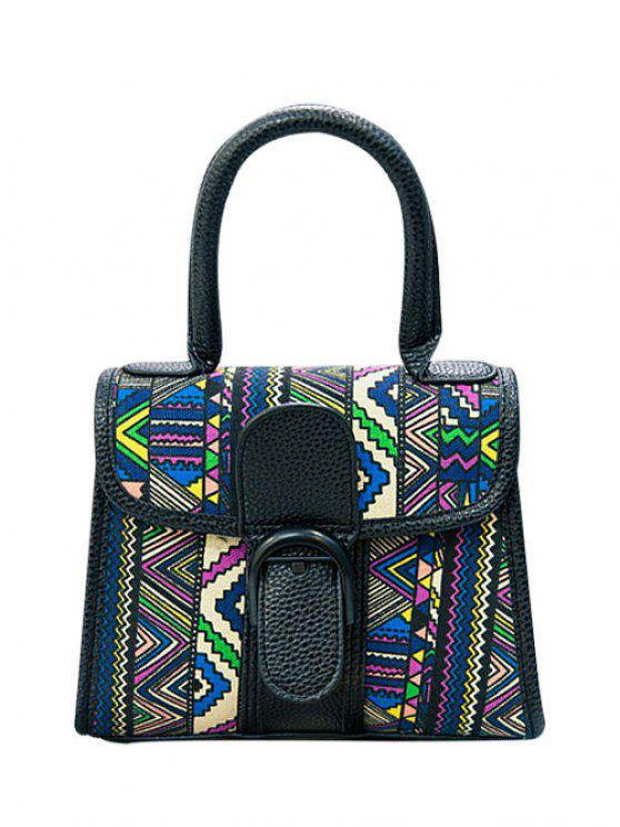 outfit Splicing Buckle Geometric Print Tote Bag - BLACK