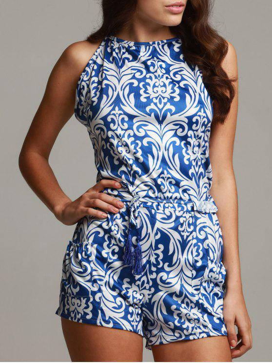 latest Vintage Print Spaghetti Strap Playsuit - BLUE AND WHITE L