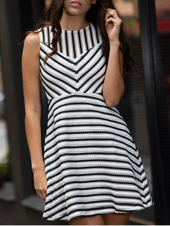 ladies Stripe Mesh A Line Dress - WHITE S