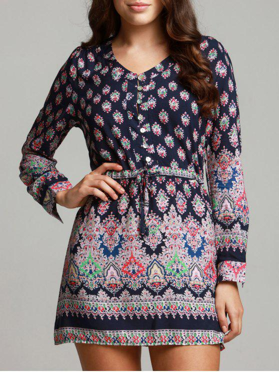 sale Bohemian V-Neck Printed Drawstring Beach Dress For Women - COLORMIX M