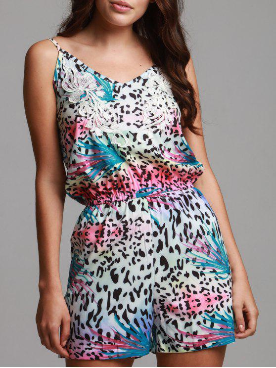 women's Leopard Print Cami Playsuit - PLUM S