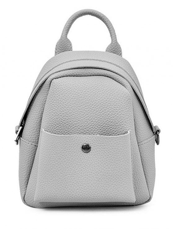 buy Solid Color PU Leather Backpack - GRAY