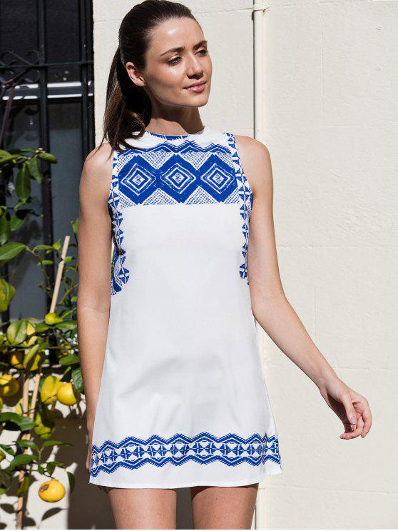 trendy Vestido Printed Round Collar Sleeveless Straight Dress - WHITE M