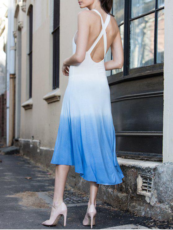 shop Blue Ombre Color Sleeveless Plunging Neck Sundress - BLUE L