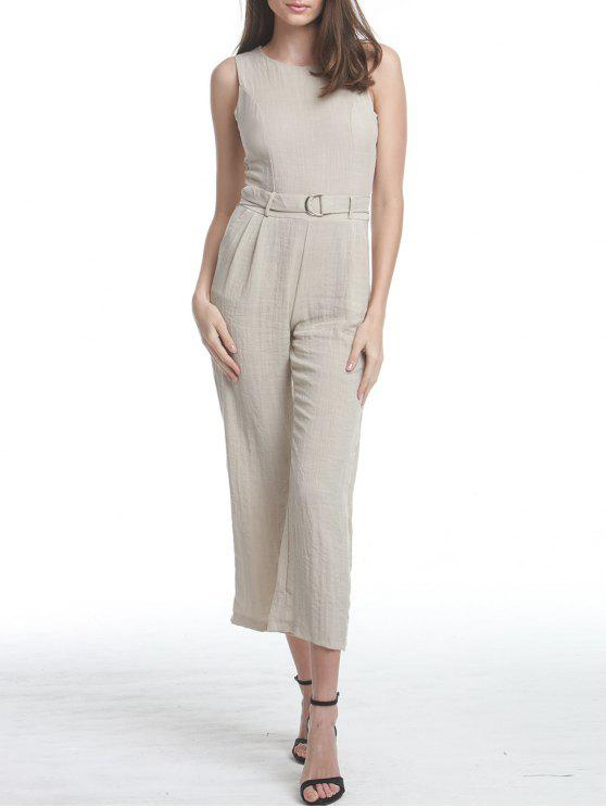 fashion Premium Texture Jumpsuit with D-Ring Detail - LIGHT KHAKI L