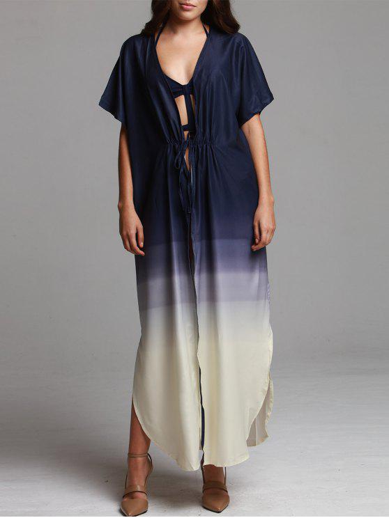 lady Ombre Color Plunging Neck Half Sleeve Maxi Dress - PURPLISH BLUE S