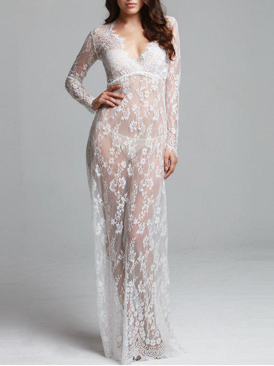 hot See-Through Plunging Neck Long Sleeve Maxi Dress - WHITE S