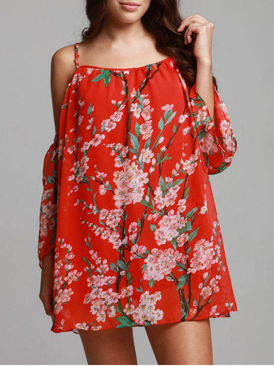 ladies Floral Print Chiffon Cami Cold Shoulder Dress - RED S