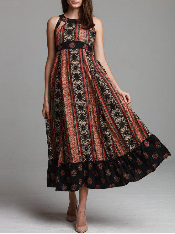 new Ethnic Print Sleeveless Scoop Neck Maxi Dress - BLACK S