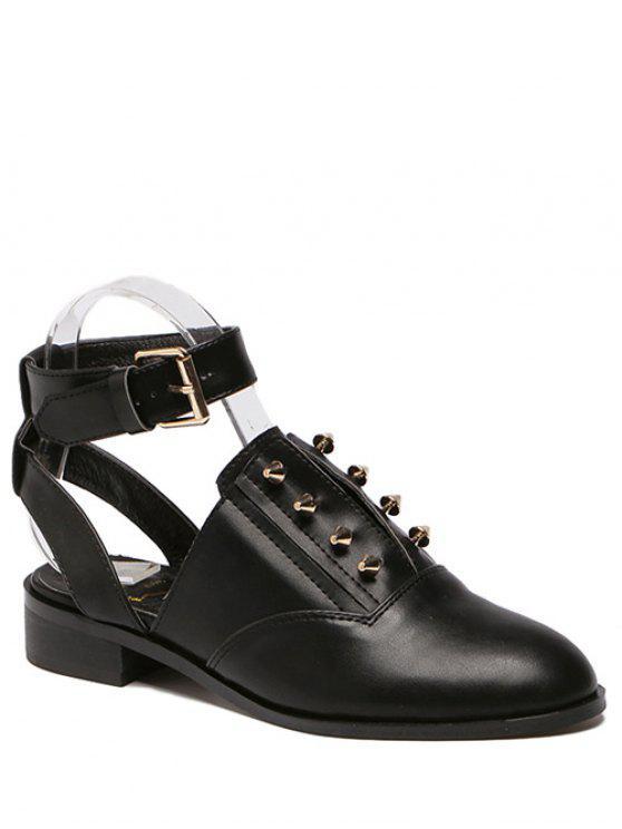 Ankle Strap Métal Cut Out Chaussures plates - Noir 38