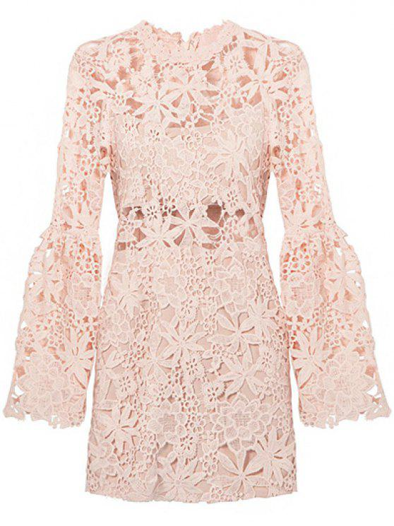 Flare Sleeve Hollow Out Slimming Lace Dress LIGHT PINK ...