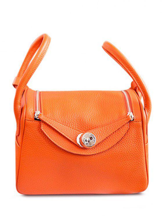 latest Double Zips PU Leather Tote Bag - ORANGE