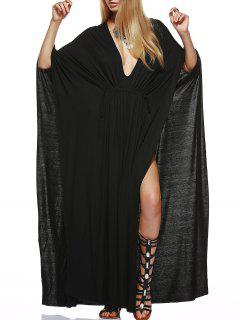 Plunging Neck High Slit Kaftan Maxi Dress - Black Xl