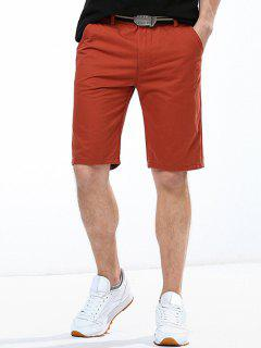 Casual Solid Color Button Embellished Straight Leg Zipper Fly Shorts For Men - Brick-red 38
