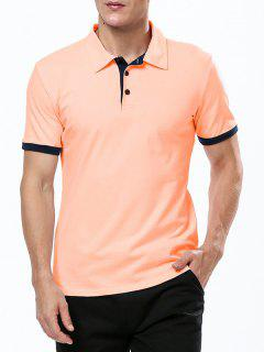 Refreshing Turn-down Collar Purfled Fitted Short Sleeves Polo T-Shirt For Men - Orange M