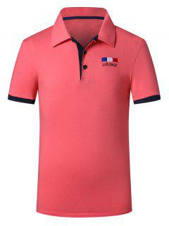 Trendy Turn-down Collar Purfled Design Fitted Short Sleeves Polo T-Shirt For Men - Watermelon Red L