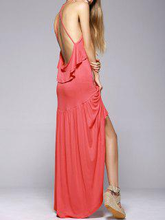 Ruffles High Low Cami Dress - Watermelon Red S