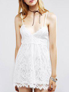 Dentelle Mini Cami Dress - Blanc S