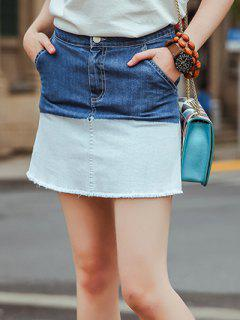 High Waist Tie-Dyed Bodycon Ombre Denim Skirt - Blue S