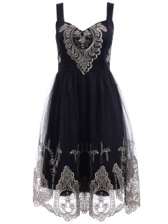 Elegant Straps Golden Lace Floral Embellished Dress For Women - Black S