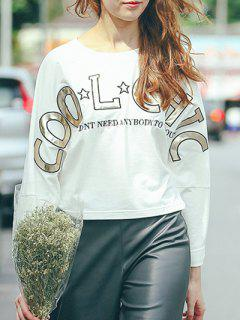 Round Neck Long Sleeve High-Low Printed T-Shirt - White M