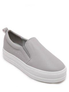 Solid Color Slip-On Platform Shoes - Gray 38