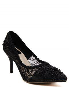 Lace Pointed Toe Black Pumps - Black 38
