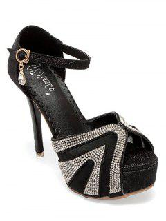 Rhinestone Platform Stiletto Heel Sandals - Black 38