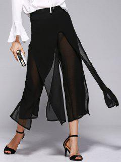 Wide Leg Chiffon Pants - Black S
