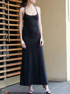 Black Spaghetti Strap Backless Split Maxi Dress - Black M