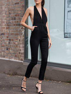Plunging Neck Sleeveless Fitting Open Back Jumpsuit - Black S