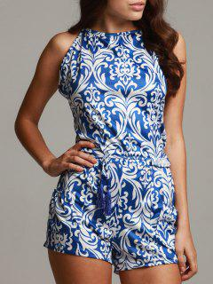 Vintage Print Spaghetti Strap Playsuit - Blue And White S