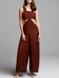 Stylish Solid Color Women's Cami Jumpsuit With Tube Top - Coffee Xl