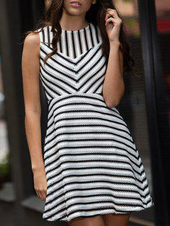 Stripe Mesh A Line Dress - White M
