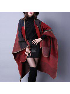 Oversized Wrap Shawl Poncho Cape - Red