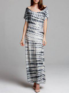 Tie-Dyed V Neck Short Sleeve Maxi Dress - Gray S