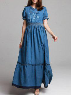 Denim Bohemian V Neck Short Sleeve Embroidered Maxi Dress - Blue S
