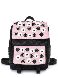 Checked Floral Color Block Backpack - Black