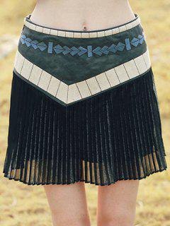 Embroidered Pleated Mini Skirt - Xs