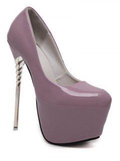 Patent Leather Super High Heel Pumps - Purple 38