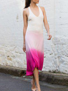Ombre Color Pink Plunging Neck Sleeveless Sundress - Pink S