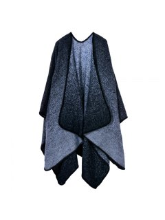 Starry Sky Pattern Poncho Cape - Black