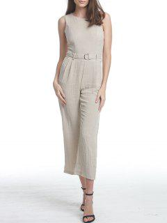 Premium Texture Jumpsuit With D-Ring Detail - Light Khaki L