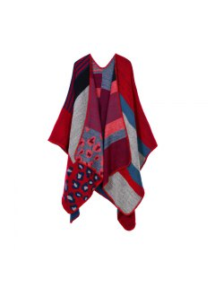 Leopard Wrap Poncho Cape - Red