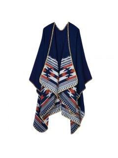 Oversized Shawl Wrap Blanket - Purplish Blue
