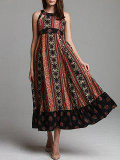 Ethnic Print Sleeveless Scoop Neck Maxi Dress - Black S