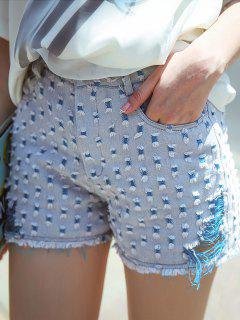 Frayed Denim Cutoffs - Blue S