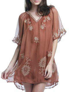 Embroidery Half Sleeve Plunging Neck Dress - Brown L