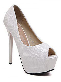 Embossing Stiletto Heel Peep Toe Shoes - White 38